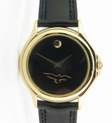 Movado Museum Classic Mens Gold Plated Quartz Wrist Watch + Box 87-E4-0863