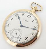 Antique Cartier 18k Yellow Gold 45.5mm 18J Pocket Watch C.1930s
