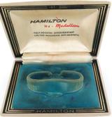 VINTAGE HAMILTON 22J MEDALLION HARD SHELL LADIES WATCH DISPLAY BOX.