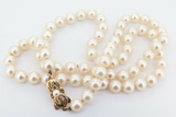 Vintage 72 x 6.9-7.4mm Mikimoto Akoya Cultured Pearl Necklace 18K Clasp In Box
