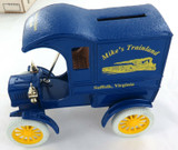 """1988 ERTL L/EDITION 1905 DELIVERY CAR BANK """"MIKE'S TRAINLAND"""". 1:25 MINT IN BOX."""