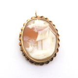 Cottage Scene Carnelian Shell Cameo 14ct Yellow Gold Pendant/ Brooch 5.1g