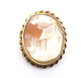 Cottage Scene Carnelian Shell Cameo 14ct Yellow Gold Pendant/ Brooch 5.1g