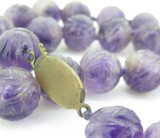 19th C. Chinese Antique Carved Shou 15mm Amethyst Court Beads