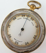 ANTIQUE ENGLISH MADE POCKET BAROMETER + ORIGINAL STORAGE CASE.