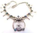 Vintage Native Indian Navajo Sterling Silver Squash Blossom & Sodalite Necklace