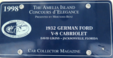 1998 THE AMELIA ISLAND CONCOURS d'ELEGANCE COLLECTORS LICENSE PLATE.