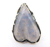 Handmade Lilac Chalcedony Agate Sterling Silver Stylised Heart Ring 16.7g