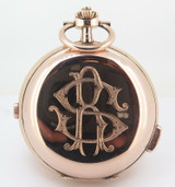 Quarter Repeater Chronograph 14K Rose Gold Large 59mm Swiss Pocket Watch