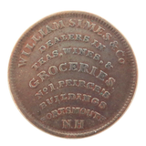 1837 USA HARD TIMES TOKEN / HIGH GRADE. NATH. & MARCH / WILLIAM SIMES & Co, N.H.