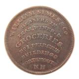 1837 USA HARD TIMES TOKEN / HIGH GRADE. NATH. & MARCH / WILLIAM SIMES & Co, N.H.