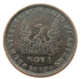 1837 NICE HIGH GRADE USA HARD TIMES TOKEN. MILLIONS FOR DEFENCE, SHIN PLASTERS.