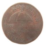 c1837 USA HARD TIMES TOKEN. H CROSSMAN, UMBRELLAS. N.Y.