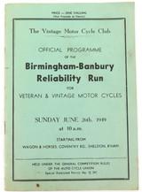 RARE 1949 UK BIRMINGHAM - BANBURY MOTORCYCLE RELIABILITY RUN OFFICIAL PROGRAMME.