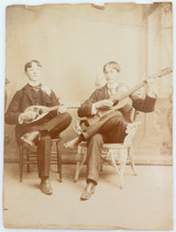 LARGE 1897 PHOTO OF 2 YOUNG MEN PLAYING MUSICAL INSTRUMENTS. AMERICANA !!