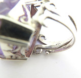 Elaborately Designed Carved Amethyst Handmade Sterling Silver Ring 29x24mm