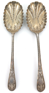 1882 QUALITY MATCHING PAIR ENGLISH EP BERRY SPOONS. JOHN ROUND & SON.