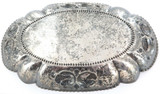 ANTIQUE / HIGH RELIEF / GERMAN HANDARBEIT 800 SILVER LARGISH REPOUSSE DISH 263g