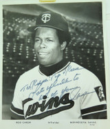 MLB ROD CAREW, MINNESOTA TWINS HANDSIGNED LARGE PHOTO.