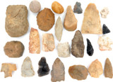 ARCHAIC PALEO NATIVE AMERICAN INDIAN SPEARHEADS, ARROWHEADS, SCRAPERS, BOLO'S.