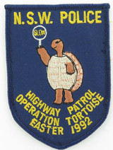 RARE OBSOLETE 1992 NSW POLICE HIGHWAY PATROL PATCH OPERATION TORTOISE EASTER '92