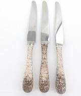 Vintage KIRK Sterling Handle Steel Blade Rose Pattern Knives 24.5cm 262g