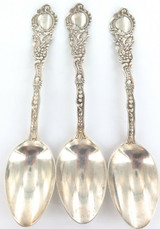 DECORATIVE / ANTIQUE SET of 3 GORHAM STERLING SILVER DESSERT SPOONS.