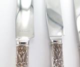 Vintage International Co. Sterling Handle Steel Blade Floral Design Knife Set 4