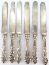 COPYRIGHTED 1888 SUPERB MATCHING SET 6 GORHAM STERLING SILVER HANDLE KNIVES
