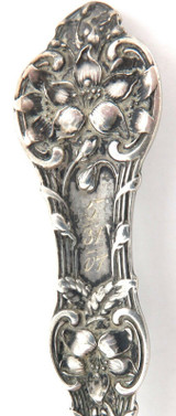 "ENGRAVED ""MARQUETTE, MICH"" 1907 DECORATIVE SOUVENIR STERLING SILVER SPOON."