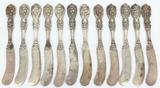 """1907 MATCHING SET 12 REED & BARTON """"FRANCIS I"""" STERLING SILVER BUTTER KNIVES."""