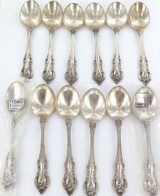 "1960s USA TOWLE ""EL GRANDEE"" PATTERN MATCHING SET 12 STERLING SILVER SOUP SPOONS"
