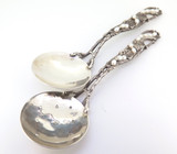 Beautiful Naturalistic Style Sterling Silver Spoons with Vines & Pearls 56.5g