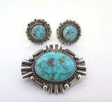 Handmade Sterling Silver Spiderweb Turquoise Brooch & Clip-on Earring Set 19.3g