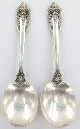 "USA WALLACE ""GRANDE BAROQUE"" PATTERN STERLING SILVER 2 SOUP ? SPOONS."