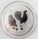2017 AUSTRALIAN YEAR OF THE ROOSTER 1oz .9999 SILVER PROOF $1 in CAPSULE.