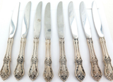 "c1950s ONEIDA LTD ""AFTERGLOW"" PATTERN STERLING SILVER HANDLES SET 8 KNIVES"
