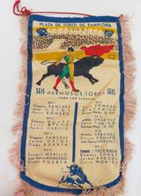 100% GENUINE 1962 SPANISH BULLFIGHTING, PAMPLONA SMALL CLOTH BANNER.