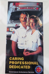 RARE VINTAGE QUEENSLAND QLD AMBULANCE LAMINATED POSTER. CARING DEDICATED.