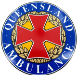 1990's QUEENSLAND AMBULANCE LARGE DECALS. 19.5CMS IN DIAMETER. GREAT CONDITION.