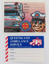 2 VINTAGE QLD AMBULANCE SERVICE SCHOOL STUDENT BOOK ADHESIVE LABELS