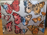 "DAVID BROMLEY ""Butterflies"" Original Polymer & Silver Leaf on Canvas 120 x 150cm"