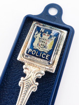 SCARCE NEW ZEALAND POLICE COLLECTORS SPOON. 12CM LONG BY PERFECTION, MISSING LID