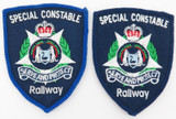 2 WESTERN AUSTRALIA WA RAILWAYS SPECIAL CONSTABLE PATCHES, EARLY EXAMPLES.
