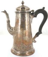 1736 ENGLISH STERLING SILVER QUALITY HEAVY SET COFFEE POT. MAKER RICHARD BAYLEY.