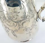 1850 ENGLISH STERLING SILVER HEAVY SET DECORATIVE COFFEE POT. MAKER JOHN TAPLEY.