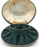 SCARCE VINTAGE SWISS ZETUS CLAM SHAPED WATCH DISPLAY BOX.