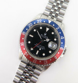 "Auth 1989 Rolex GMT Master ""Pepsi"" Steel Wrist Watch +Box Tag Instructions 16700"