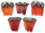 5 SUPERB ART NOUVEAU ERA / EARLY 1900s METAL & CELLULOID HAIR COMBS / CLIPS.