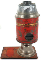 VINTAGE HAND MADE METAL & WOOD BURNER LAMP.